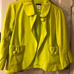 J Crew neon yellow tulip sleeved blazer / jacket